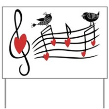 Cute Musical notes and love Birds Yard Sign