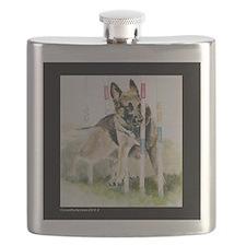 Cute German shepherd guard dog Flask