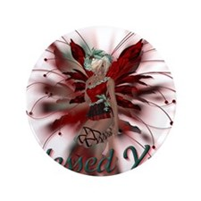 """Blessed Yule Fairy 3.5"""" Button"""