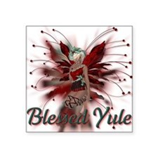 "Blessed Yule Fairy Square Sticker 3"" x 3"""