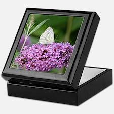 Purple Flower with Butterfly Keepsake Box