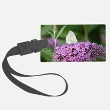 Purple Flower with Butterfly Luggage Tag