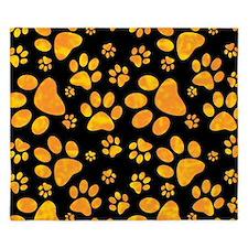 Paw Print Pattern Orange Yellow King Duvet