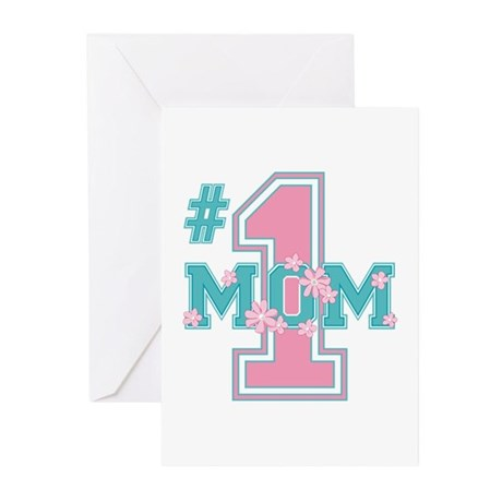 #1 Mom Pink Greeting Cards (Pk of 10)