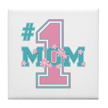 #1 Mom Pink Tile Coaster