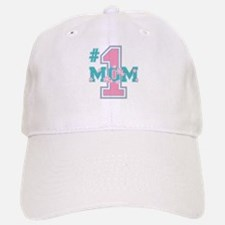 #1 Mom Pink Baseball Baseball Cap