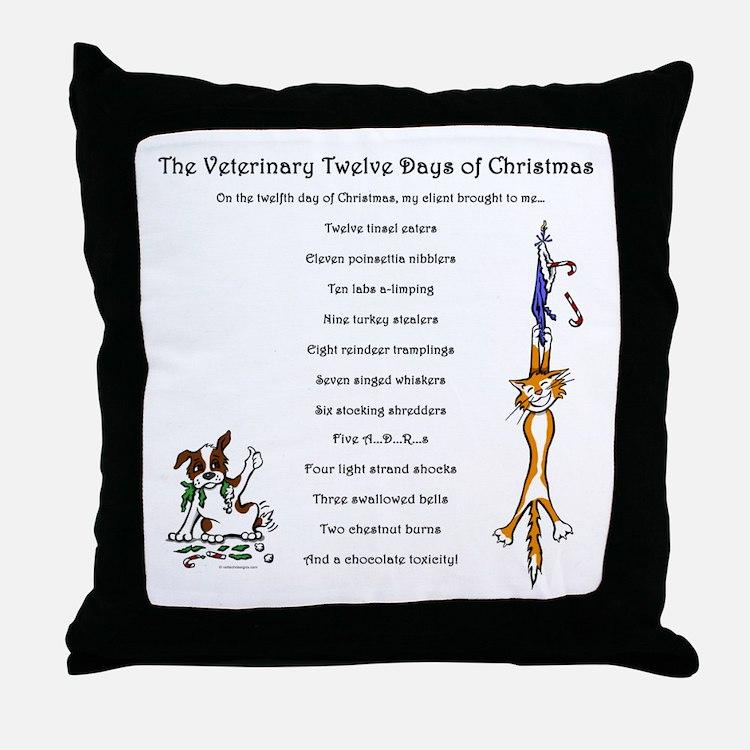 Veterinary Twelve Days Of Christmas Throw Pillow