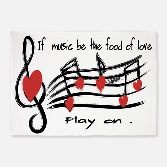 Musical note love hearts 5'x7'Area Rug