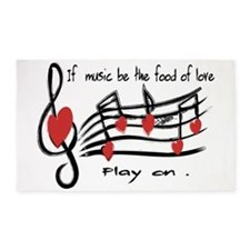 Musical note love hearts 3'x5' Area Rug