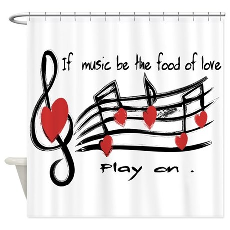 Perfect Musical Note Love Hearts Shower Curtain
