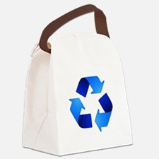 Blue Recycling Symbol Canvas Lunch Bag