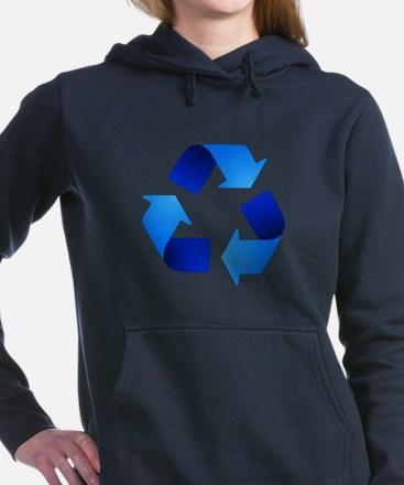 Blue Recycling Symbol Hooded Sweatshirt