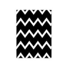 Black and White Chevron Stripes 5'x7'Area Rug
