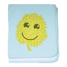 Happy Durian cute fruit with a smile baby blanket