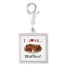 I Love Waffles Silver Square Charm