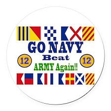 Go Navy! 12 Straight!! Round Car Magnet