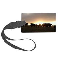 Sunset cows Luggage Tag