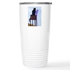 Black Cat with Shadow Travel Mug