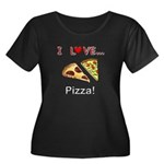 I Love Pizza Women's Plus Size Scoop Neck Dark T-S