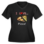 I Love Pizza Women's Plus Size V-Neck Dark T-Shirt