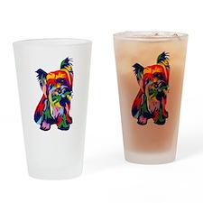 Bright rainbow yorkie Drinking Glass