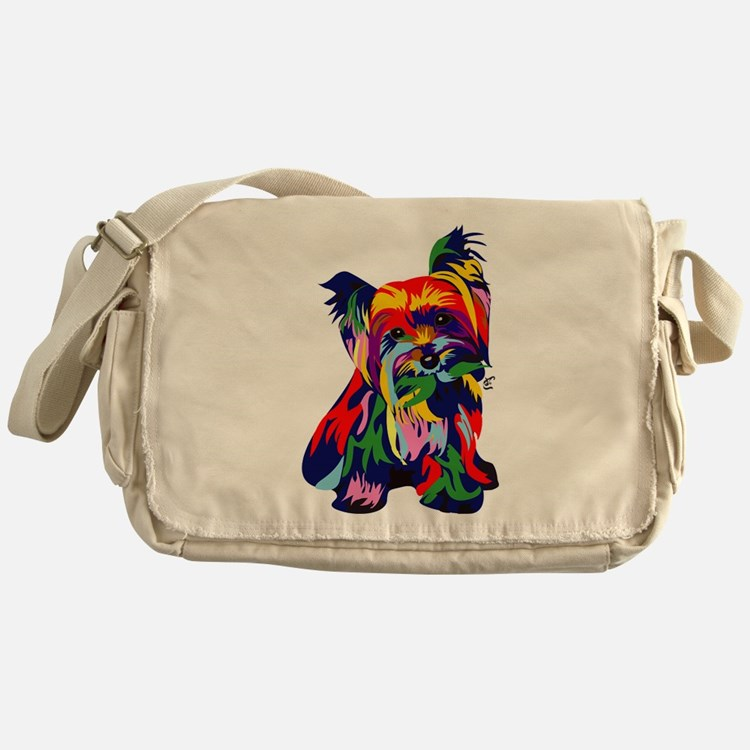 Bright Rainbow Yorkie Messenger Bag