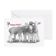 Fourth Of July Lambs Greeting Card
