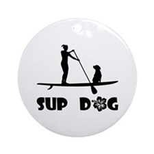 SUP Dog Sitting Ornament (Round)