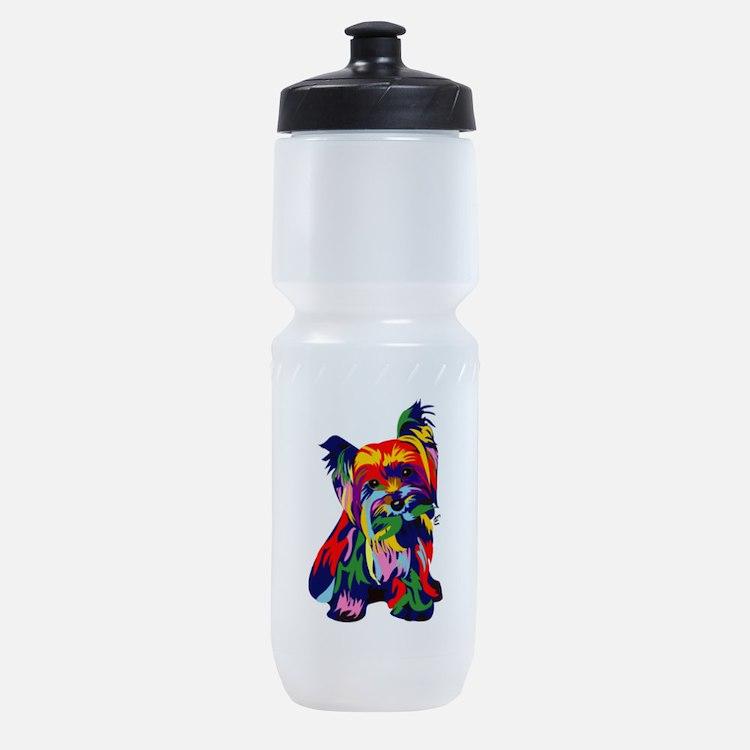 Bright Rainbow Yorkie Sports Bottle