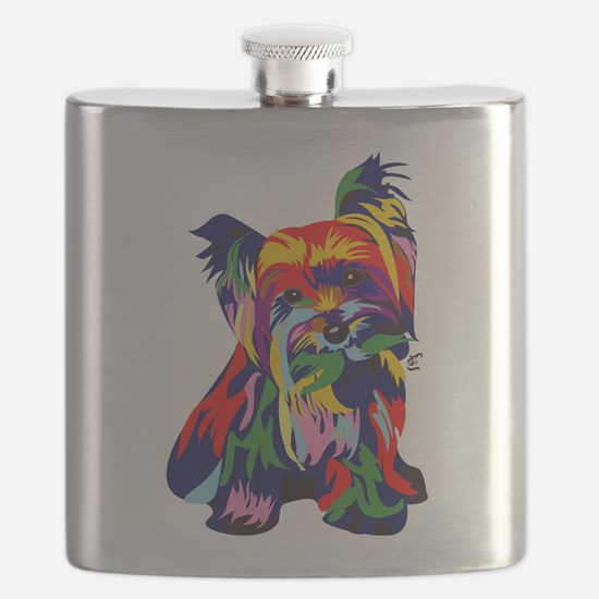 Bright Rainbow Yorkie Flask