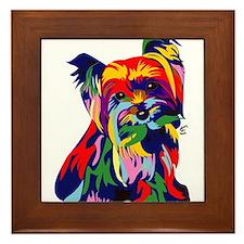 Bright Rainbow Yorkie Framed Tile