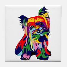 Bright Rainbow Yorkie Tile Coaster