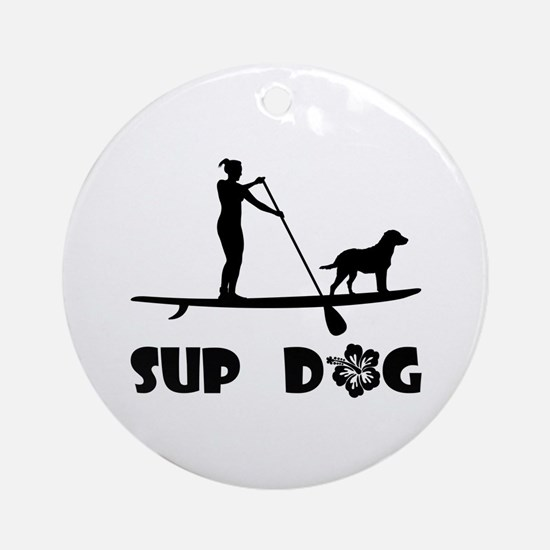 SUP Dog Standing Ornament (Round)