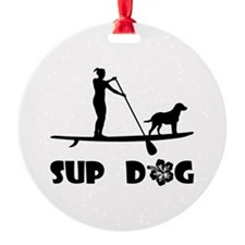 SUP Dog Standing Ornament
