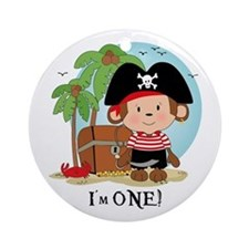 Monkey Pirate 1st Birthday Ornament (Round)