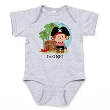 Monkey Pirate 1st Birthday Baby Bodysuit