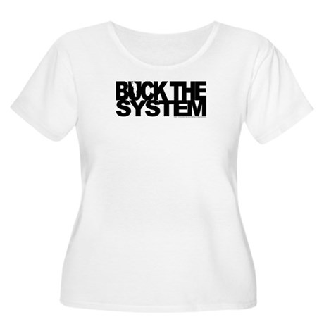 Buck The System Women's Plus Size Scoop Neck T-Shi