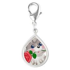Puppy Silver Teardrop Charm