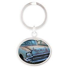 Chevy  Bel Air Blue Lambrecht  Oval Keychain