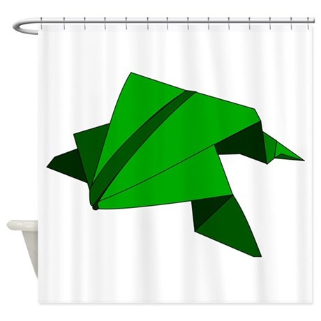 Origami frog shower curtain by myfungraphics for Origami curtain