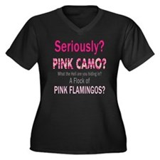 Funny Pink C Women's Plus Size Dark V-Neck T-Shirt
