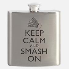 Badminton Keep Calm And Smash On Flask