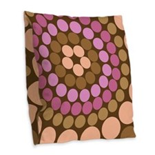 Dots - Brown Burlap Throw Pillow