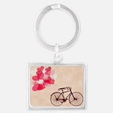 Heart-Shaped Balloons and Bicyc Landscape Keychain