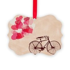 Heart-Shaped Balloons and Bicycle Ornament