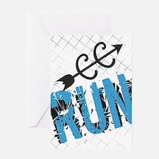 Grunge Run Cross Country Greeting Cards