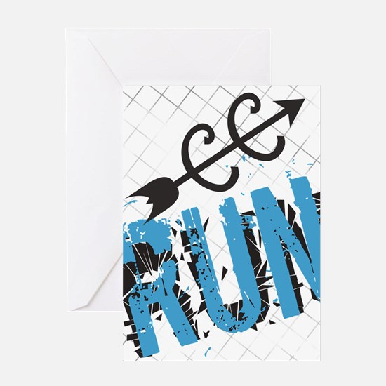Grunge Run Cross Country Greeting Cards