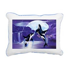 Womens F- Orcas In A Bay Rectangular Canvas Pillow