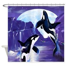 Womens f- Orcas In A Bay Shower Curtain