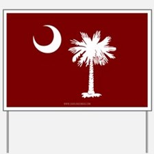 SC Palmetto Moon State Flag Garnet Yard Sign